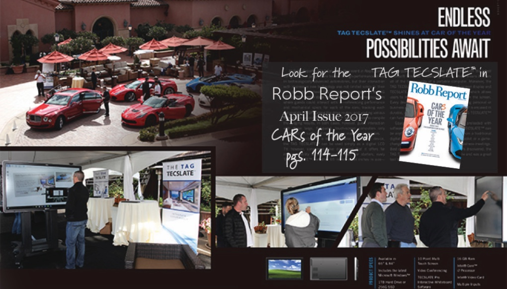 TAG TECSLATE™ shines at Robb Report's Car of the Year